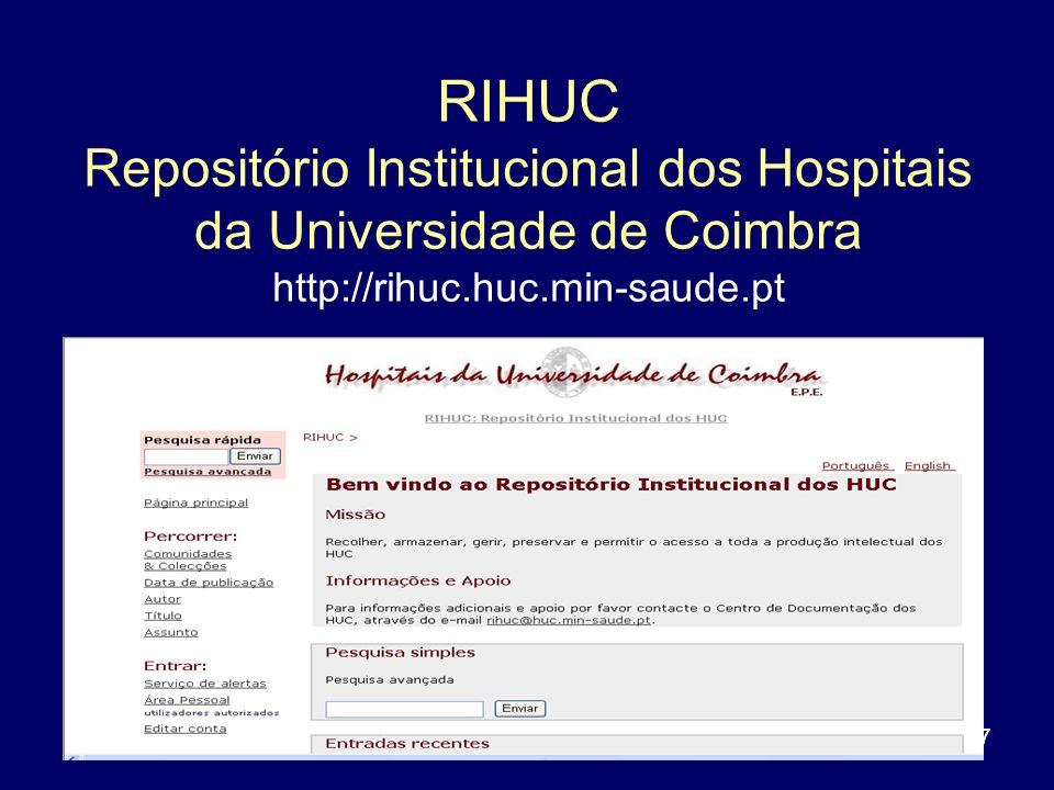 RIHUC Repositório Institucional dos Hospitais da Universidade de Coimbra http://rihuc.huc.min-saude.pt