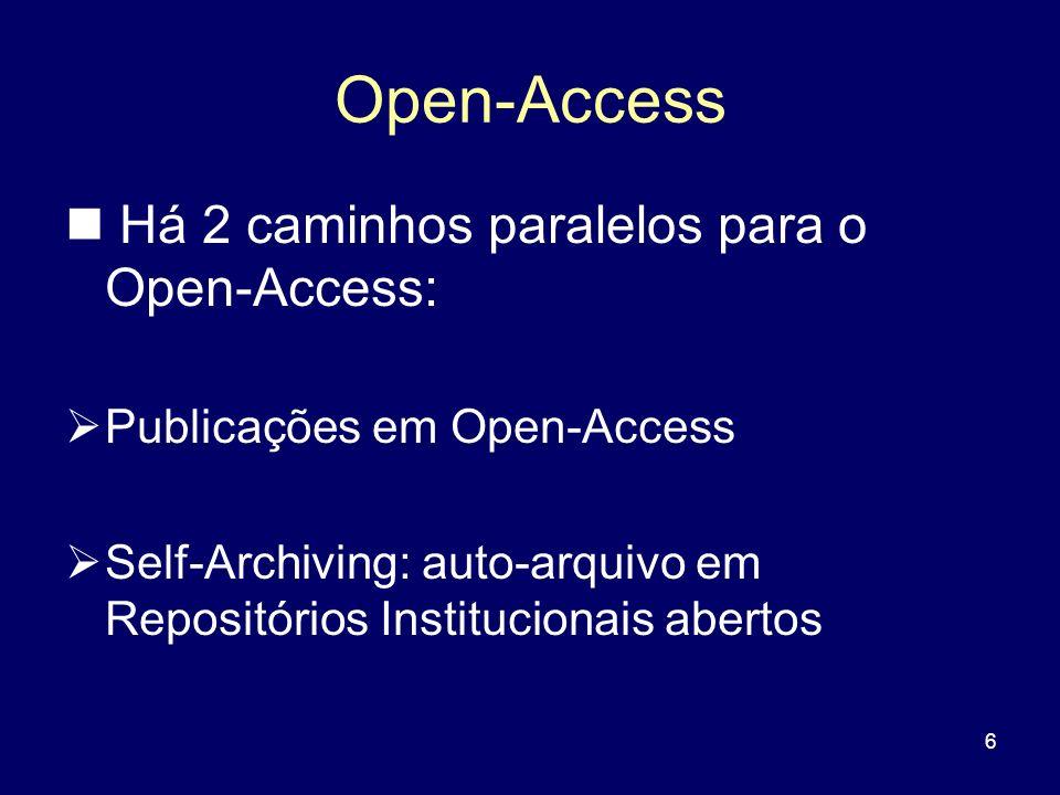 Open-Access Há 2 caminhos paralelos para o Open-Access: