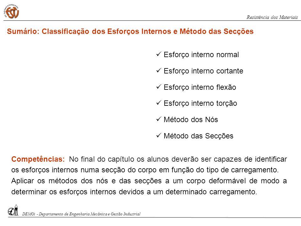 Sumário: Classificação dos Esforços Internos e Método das Secções