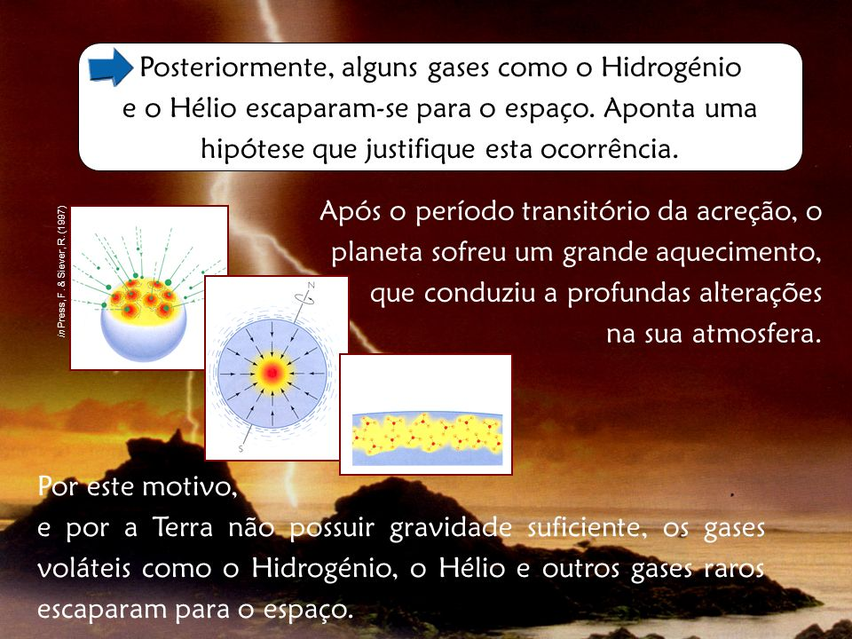 Posteriormente, alguns gases como o Hidrogénio