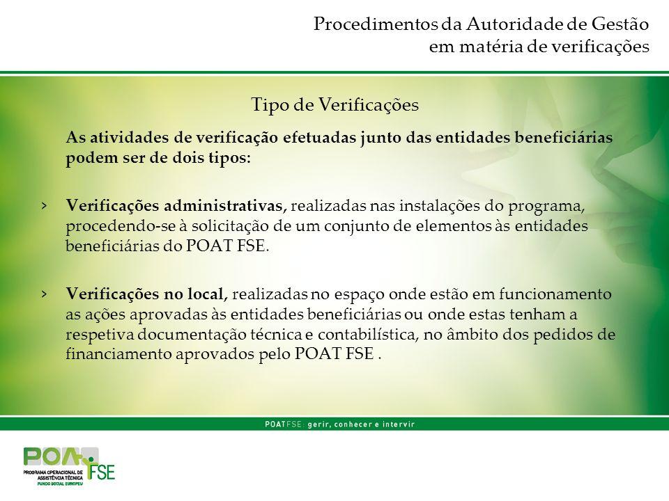 Procedimentos da Autoridade de Gestão em matéria de verificações