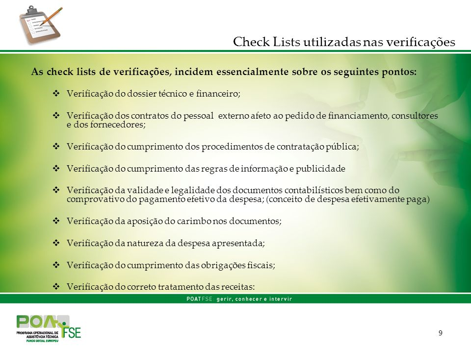 Check Lists utilizadas nas verificações