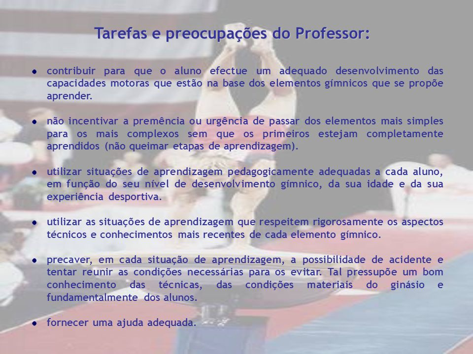 Tarefas e preocupações do Professor: