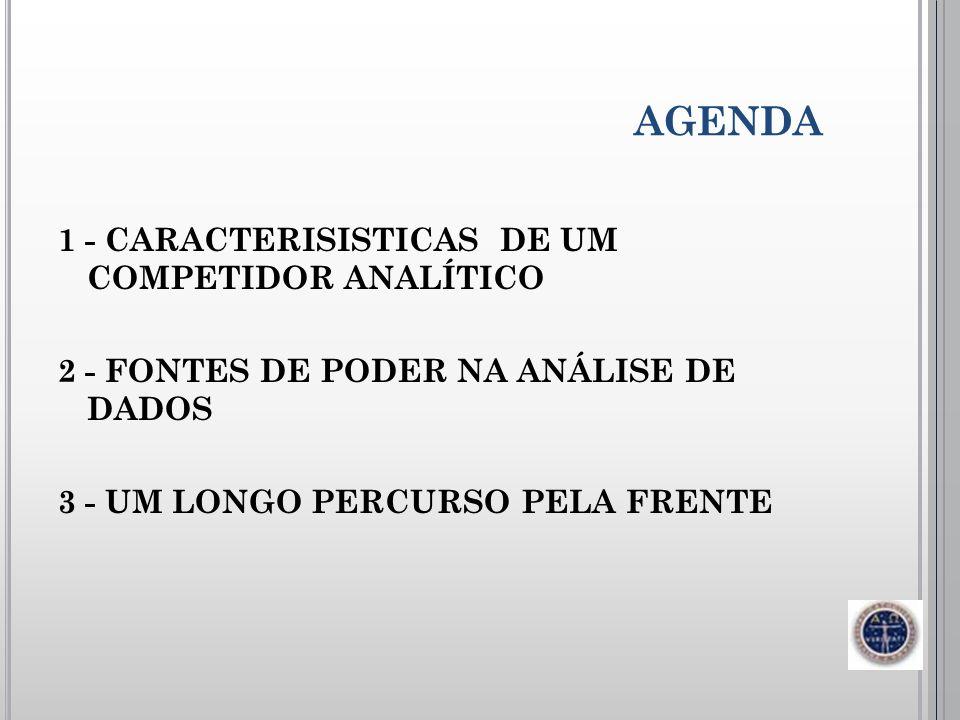 AGENDA1 - CARACTERISISTICAS DE UM COMPETIDOR ANALÍTICO 2 - FONTES DE PODER NA ANÁLISE DE DADOS 3 - UM LONGO PERCURSO PELA FRENTE