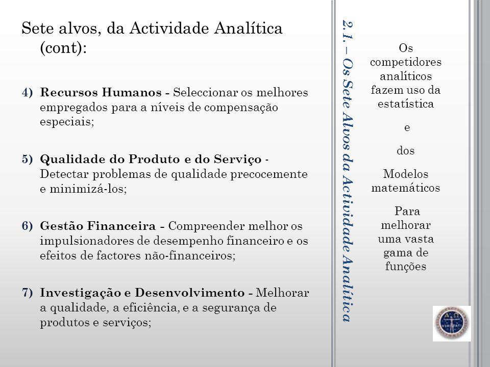2.1. – Os Sete Alvos da Actividade Analítica