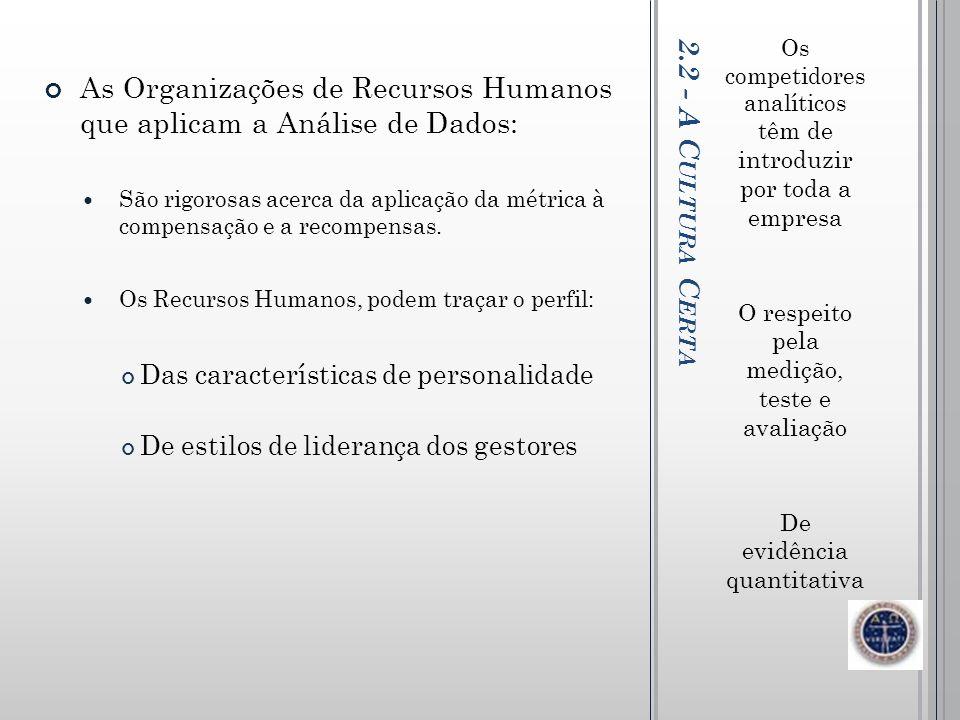 As Organizações de Recursos Humanos que aplicam a Análise de Dados: