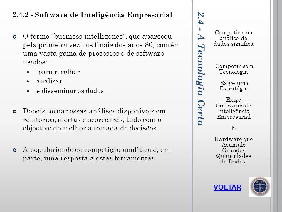 2.4 - A Tecnologia Certa 2.4.2 - Software de Inteligência Empresarial