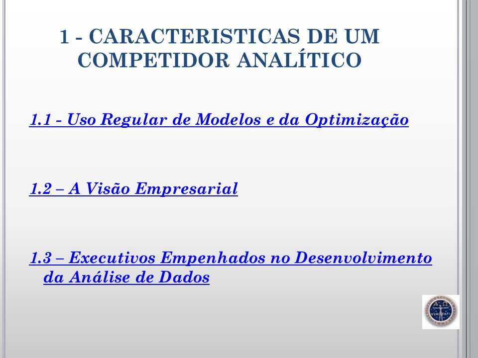 1 - CARACTERISTICAS DE UM COMPETIDOR ANALÍTICO