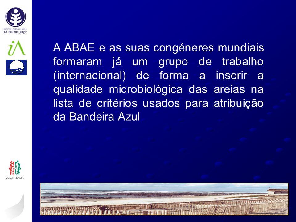 A ABAE e as suas congéneres mundiais formaram já um grupo de trabalho (internacional) de forma a inserir a qualidade microbiológica das areias na lista de critérios usados para atribuição da Bandeira Azul