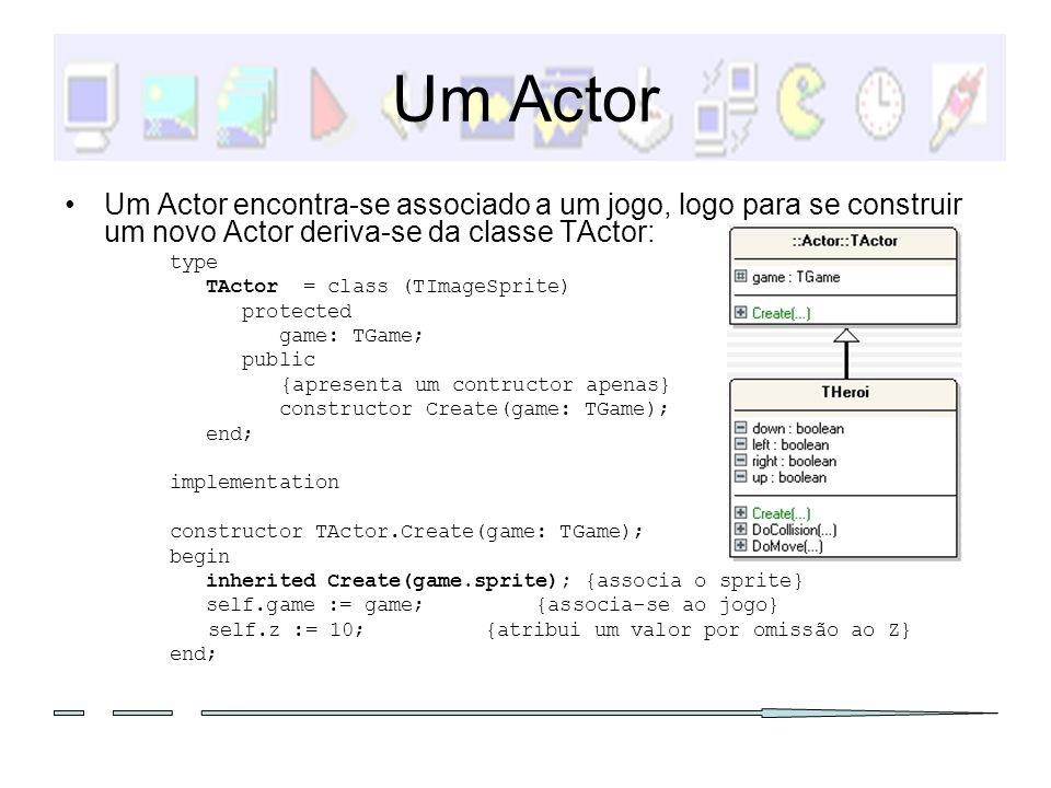 Um Actor Um Actor encontra-se associado a um jogo, logo para se construir um novo Actor deriva-se da classe TActor: