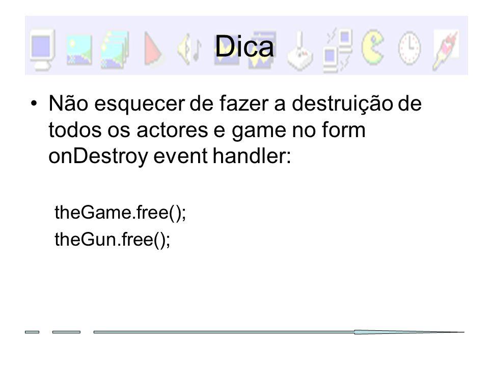 Dica Não esquecer de fazer a destruição de todos os actores e game no form onDestroy event handler: