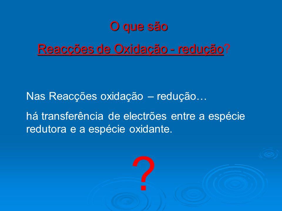 O que são Reacções de Oxidação - redução