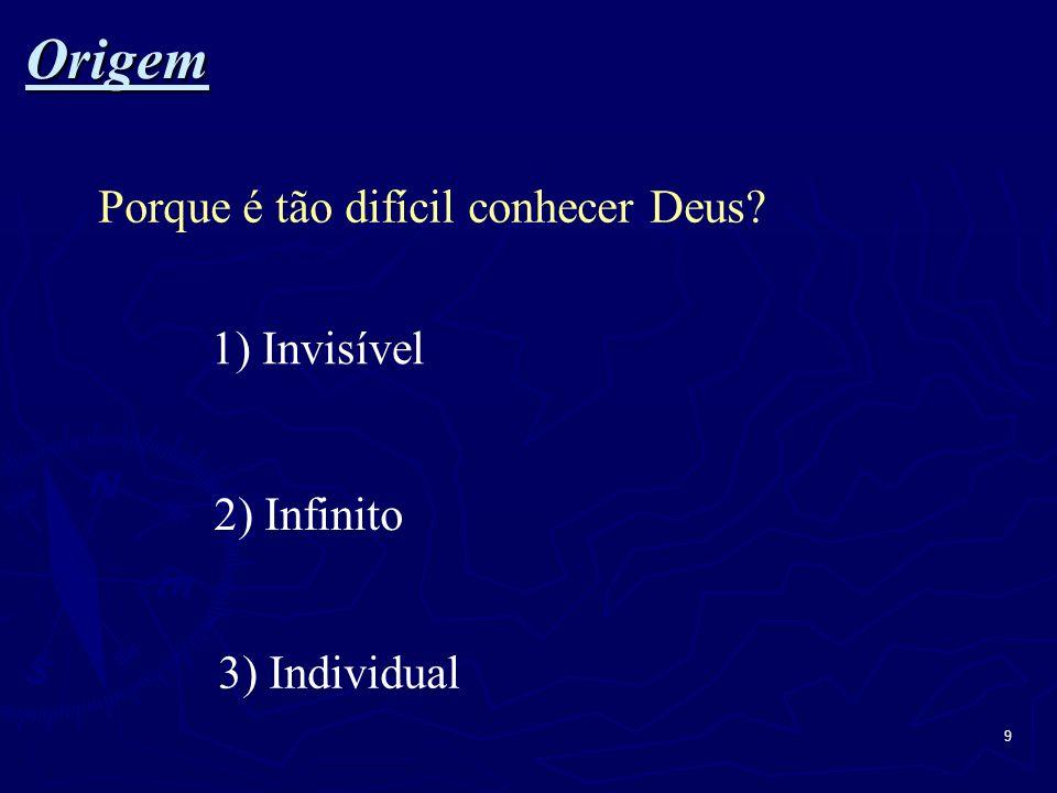 Origem Porque é tão difícil conhecer Deus 1) Invisível 2) Infinito