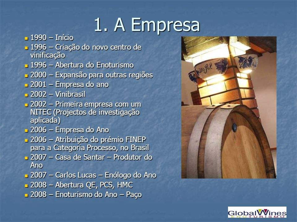 1. A Empresa1990 – Início. 1996 – Criação do novo centro de vinificação. 1996 – Abertura do Enoturismo.