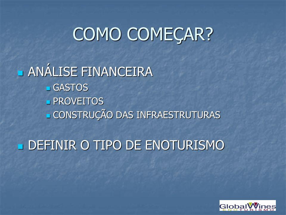 COMO COMEÇAR ANÁLISE FINANCEIRA DEFINIR O TIPO DE ENOTURISMO GASTOS
