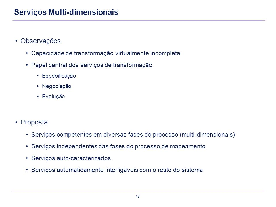 Serviços Multi-dimensionais