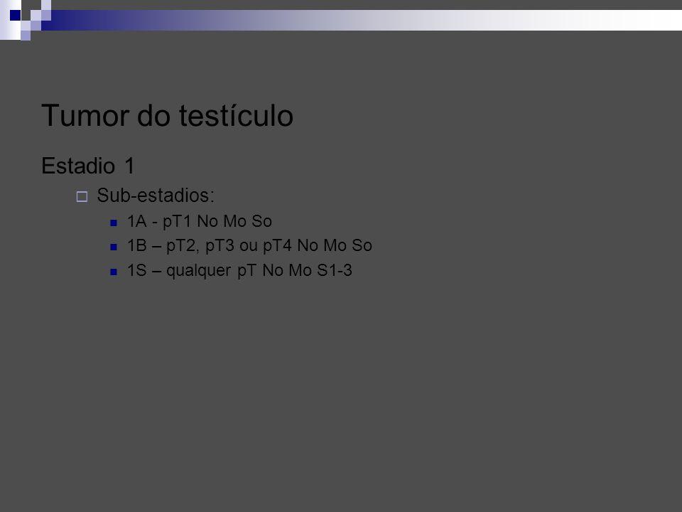 Tumor do testículo Estadio 1 Sub-estadios: 1A - pT1 No Mo So