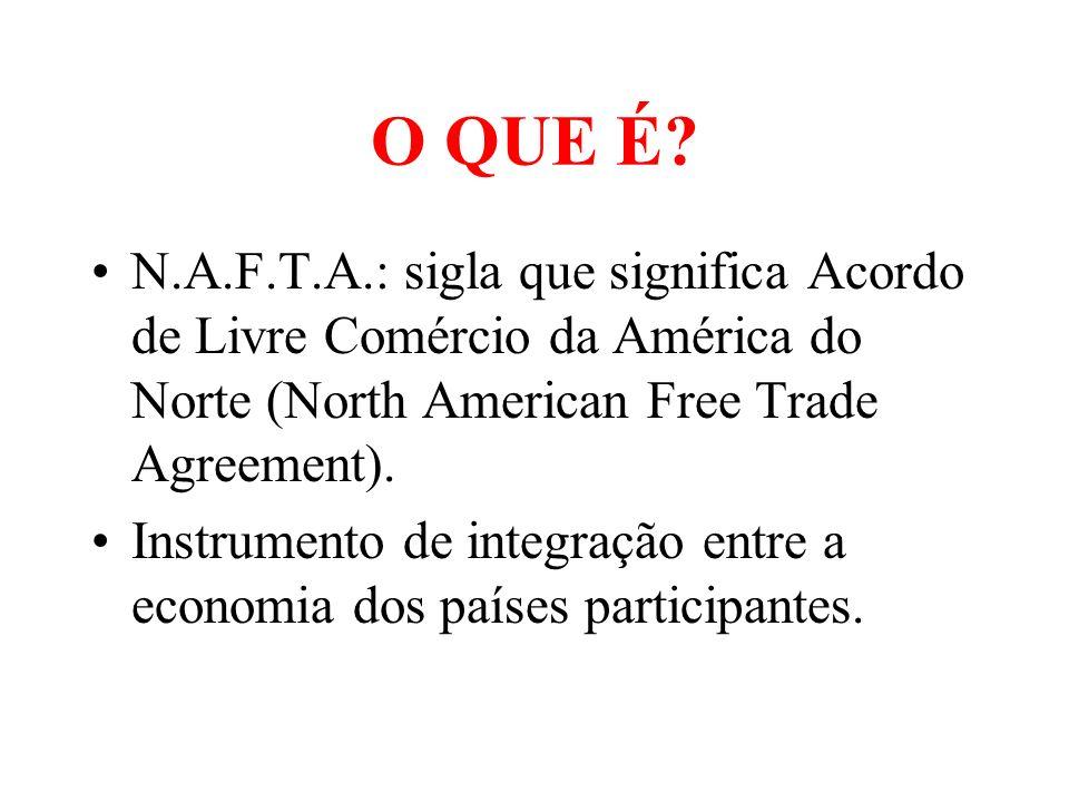 O QUE É N.A.F.T.A.: sigla que significa Acordo de Livre Comércio da América do Norte (North American Free Trade Agreement).
