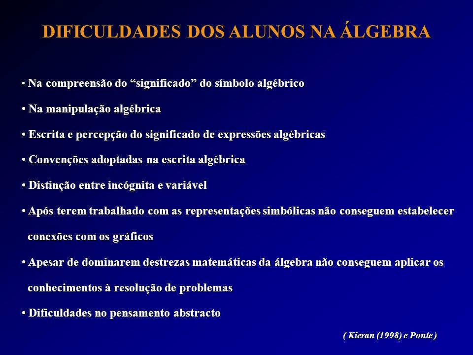 DIFICULDADES DOS ALUNOS NA ÁLGEBRA