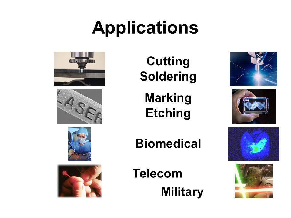 Applications Cutting Soldering Marking Etching Biomedical Telecom