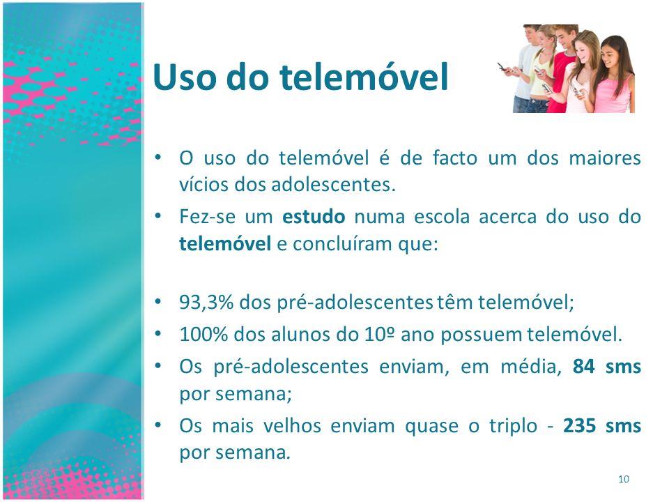 Uso do telemóvel O uso do telemóvel é de facto um dos maiores vícios dos adolescentes.