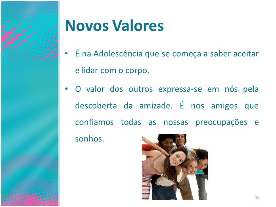 Novos Valores É na Adolescência que se começa a saber aceitar e lidar com o corpo.