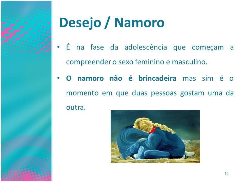 Desejo / Namoro É na fase da adolescência que começam a compreender o sexo feminino e masculino.