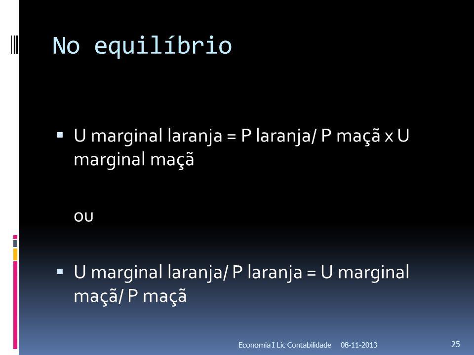 No equilíbrio U marginal laranja = P laranja/ P maçã x U marginal maçã