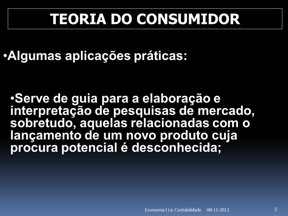 TEORIA DO CONSUMIDOR Algumas aplicações práticas: