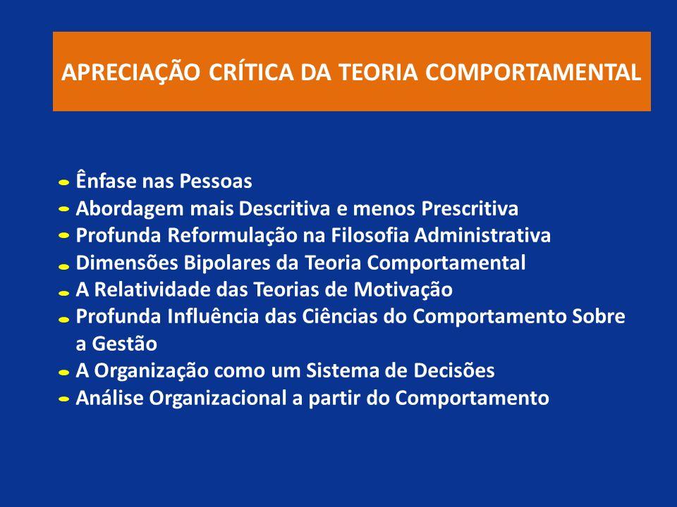 APRECIAÇÃO CRÍTICA DA TEORIA COMPORTAMENTAL
