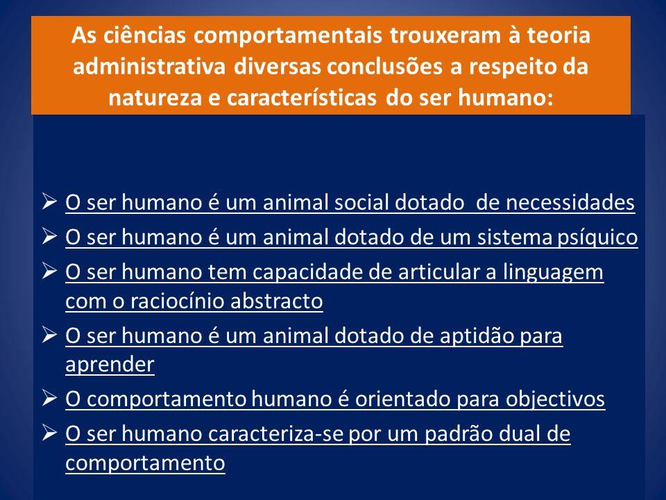 As ciências comportamentais trouxeram à teoria administrativa diversas conclusões a respeito da natureza e características do ser humano: