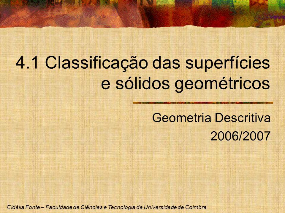 4.1 Classificação das superfícies e sólidos geométricos