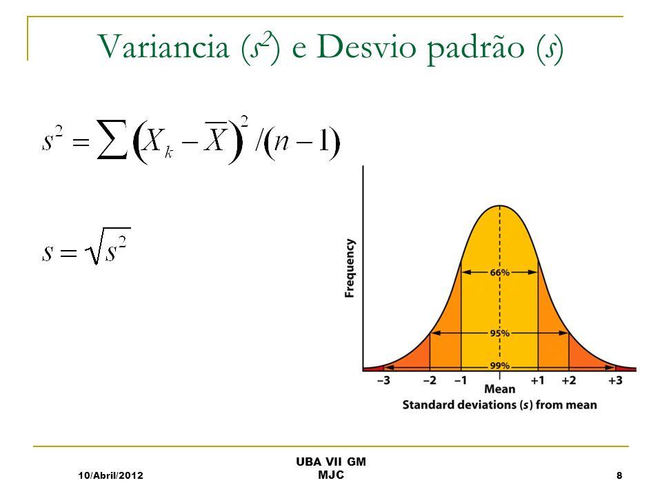 Variancia (s2) e Desvio padrão (s)