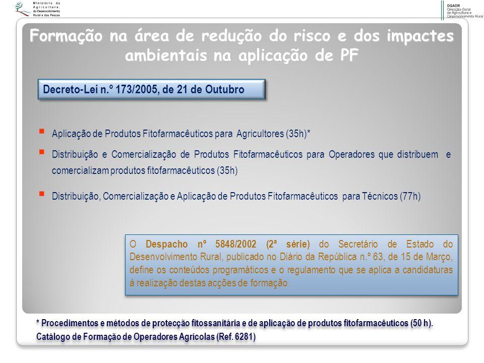 Formação na área de redução do risco e dos impactes ambientais na aplicação de PF