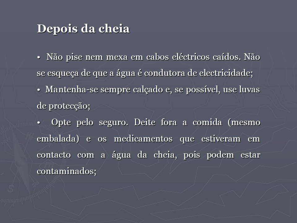Depois da cheia • Não pise nem mexa em cabos eléctricos caídos. Não se esqueça de que a água é condutora de electricidade;