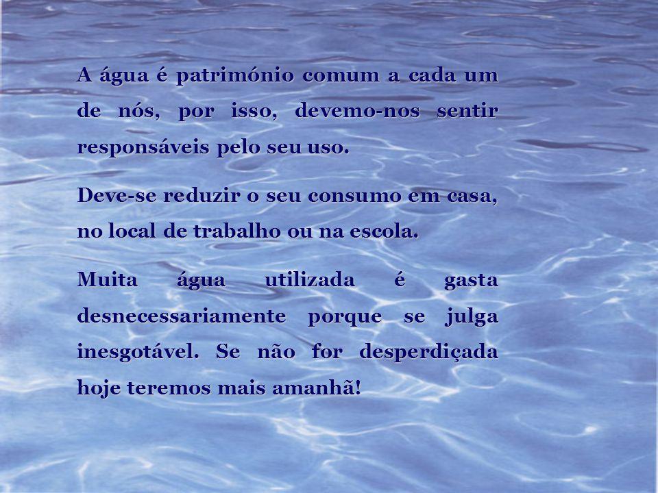 A água é património comum a cada um de nós, por isso, devemo-nos sentir responsáveis pelo seu uso.