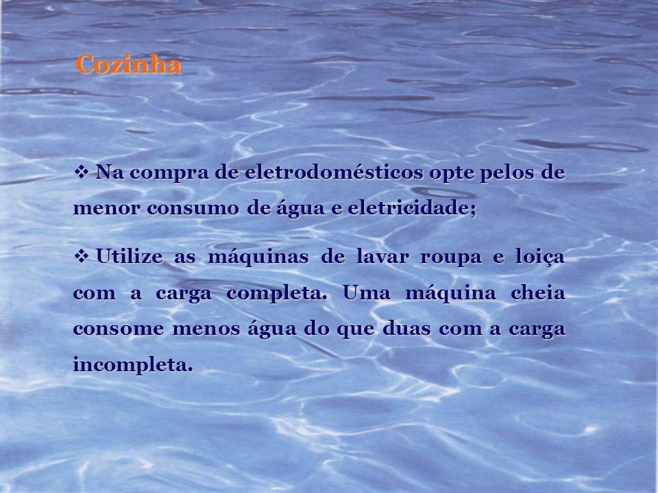 Cozinha Na compra de eletrodomésticos opte pelos de menor consumo de água e eletricidade;