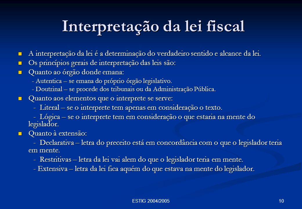 Interpretação da lei fiscal