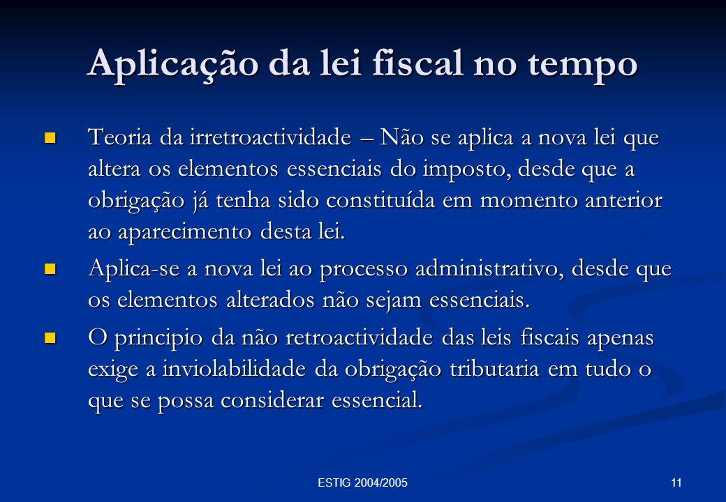 Aplicação da lei fiscal no tempo