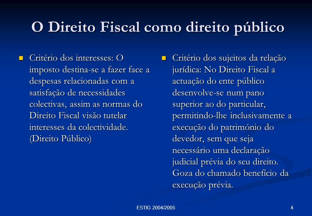O Direito Fiscal como direito público