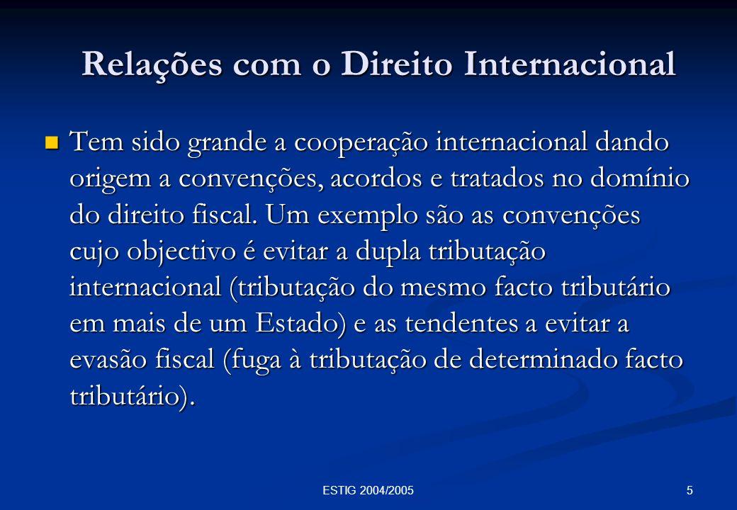 Relações com o Direito Internacional