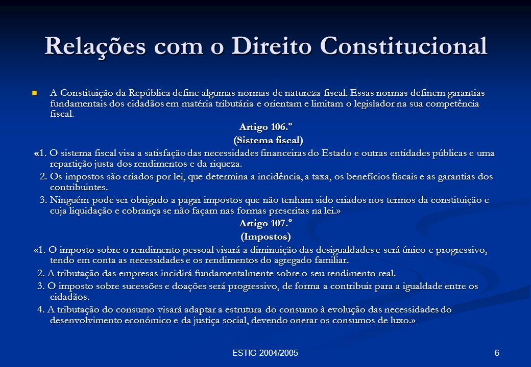 Relações com o Direito Constitucional