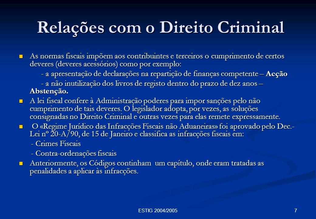 Relações com o Direito Criminal