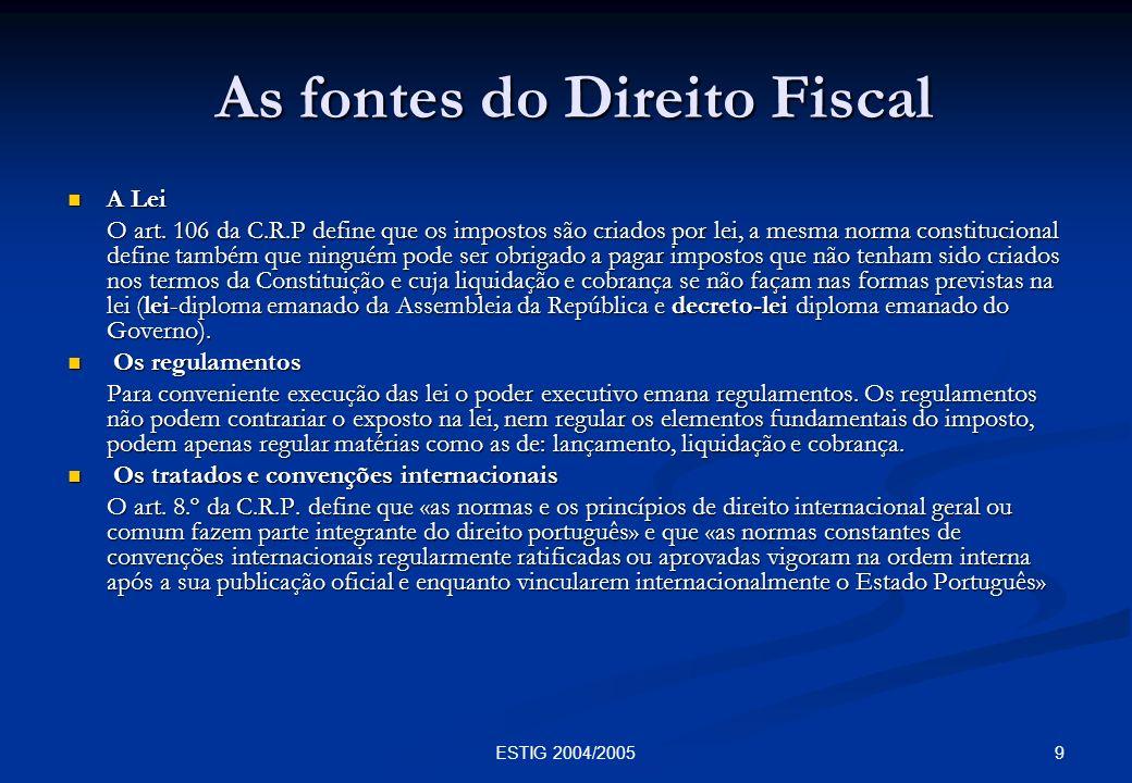 As fontes do Direito Fiscal
