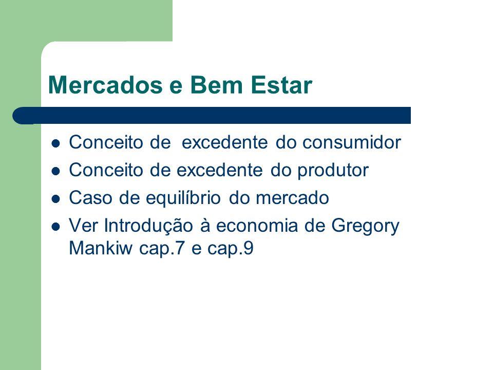Mercados e Bem Estar Conceito de excedente do consumidor