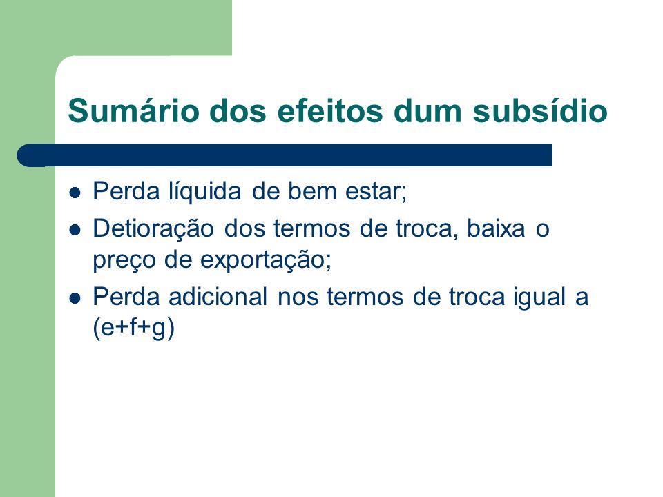 Sumário dos efeitos dum subsídio