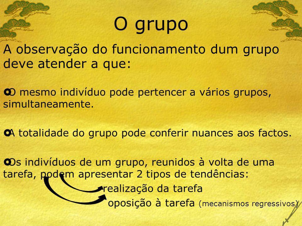 O grupo A observação do funcionamento dum grupo deve atender a que: