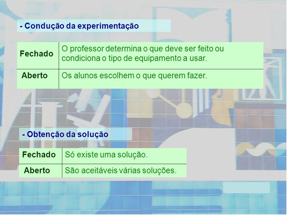 - Condução da experimentação