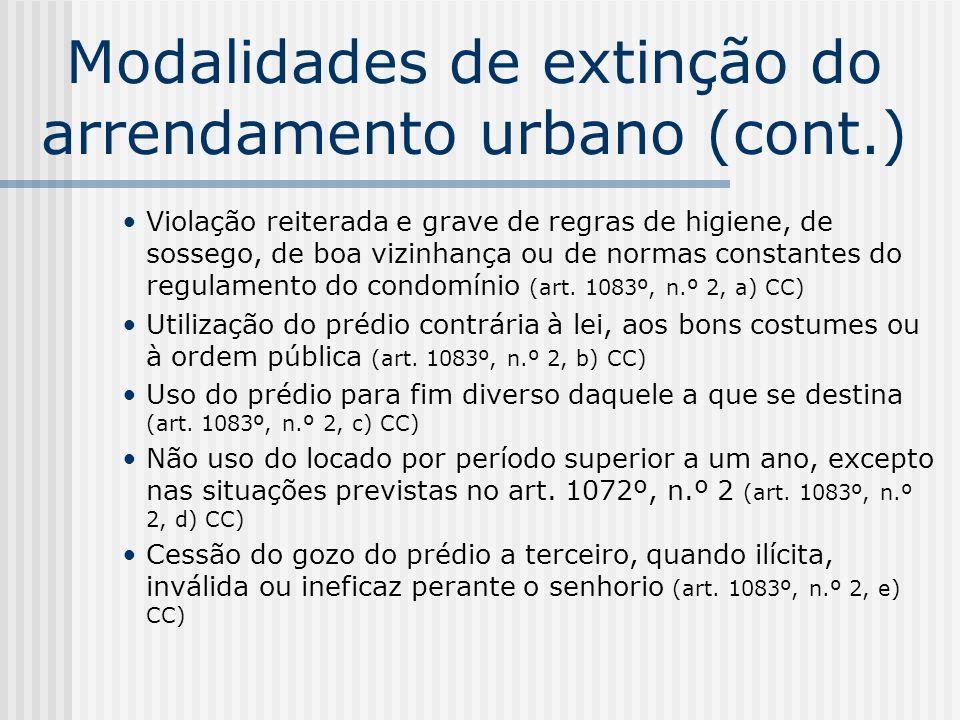 Modalidades de extinção do arrendamento urbano (cont.)