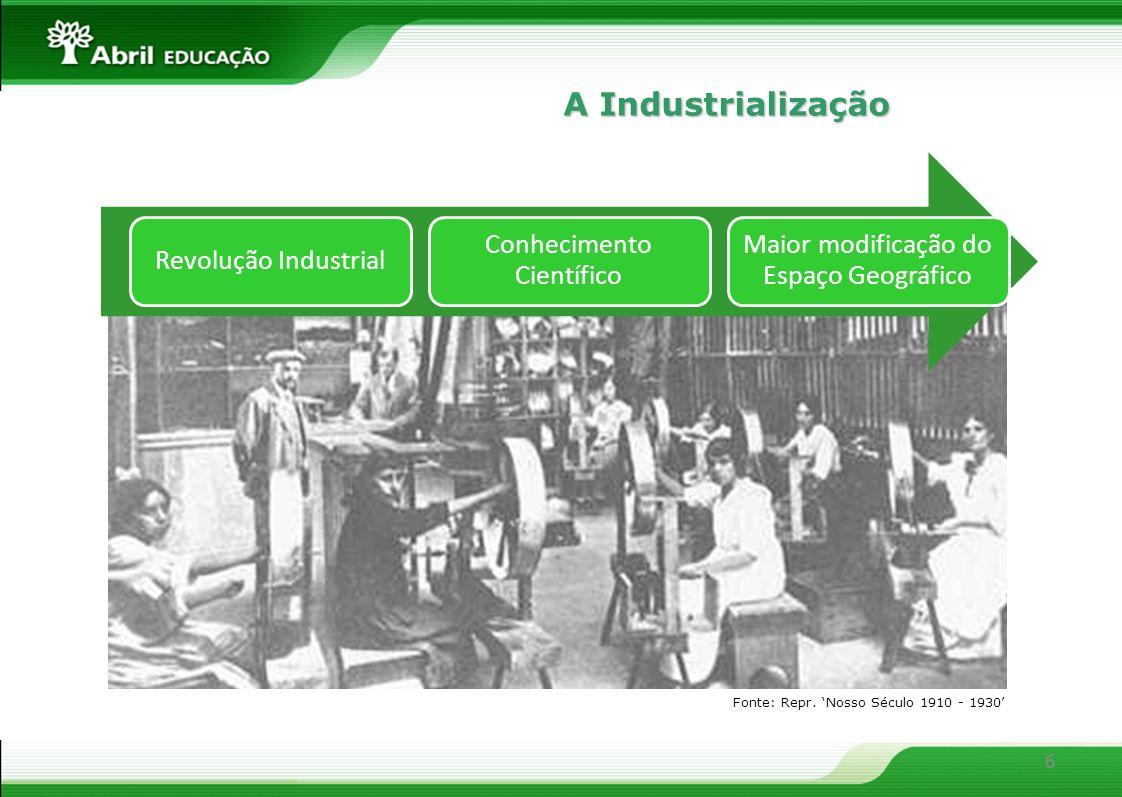 A Industrialização Fonte: Repr. 'Nosso Século 1910 - 1930'